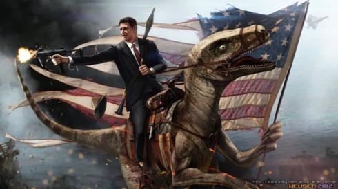 """Foto ini dari film kedua: """"Ronald Reagan: Pemburu Dinosaurus"""""""